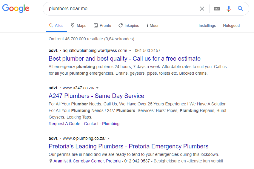 A google search of 'plumbers near me' shows the google ads results to demonstrate the difference between google ads and SEO.