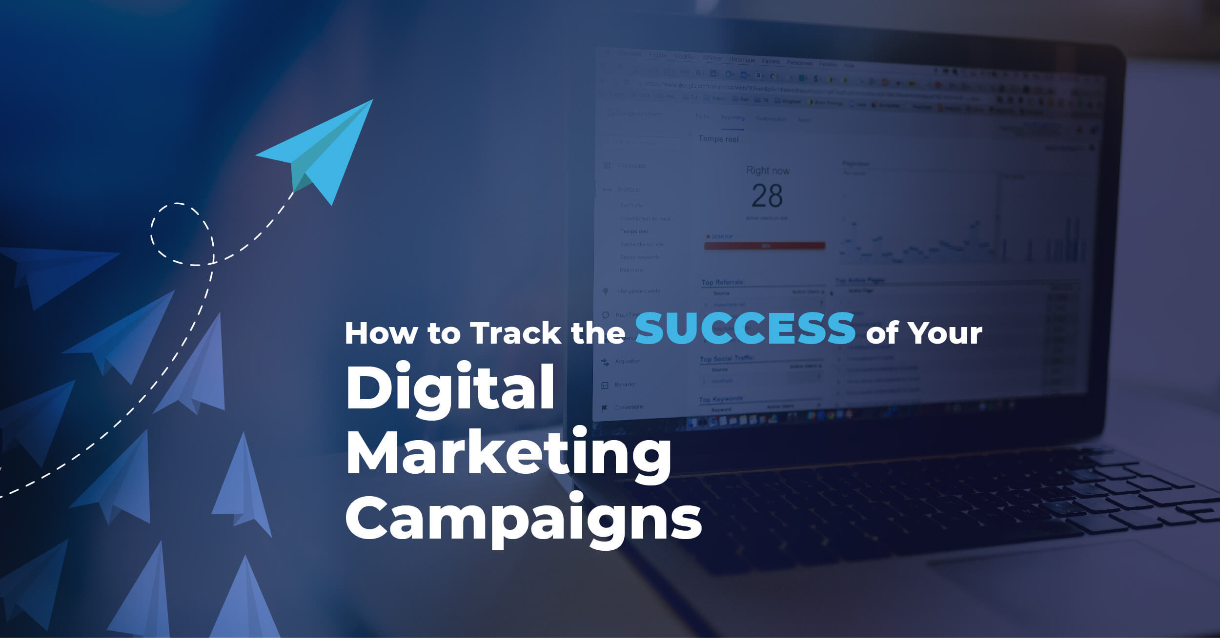 Track digital marketing campaigns text with a backround of a computer